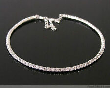 Clear Crystal Rhinestone Bridal Choker Necklace SILVER One Row adjustable fit