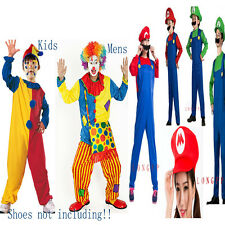 Clown Jester/Super Mario Luigi Bros Fancy Dress Halloween Party Costume Outfit a
