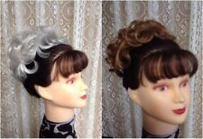 ADD ON 1 MONA LISA short curly WIGLET  hairpiece BLACK BROWN BLONDE RED GREY