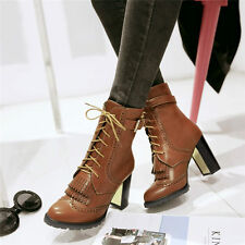 Plus size 5-11 Womens Lace Up Buckle High Heels Ankle Boots Brogue Oxfords Shoes