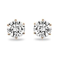 1 Carat White Topaz Round Brilliant Cut 14k Solid Rose Gold Stud Earrings