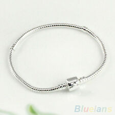 Women's Silver Plated Snake Chain With Barrel Clasp Bead Bangle Bracelet Newest