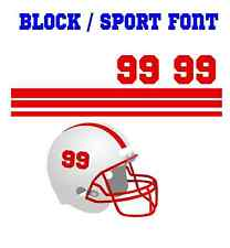 Football Helmet Stripe & Sport Block Font Number Vinyl Decal Set - Select Color