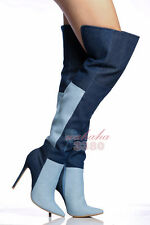 Fashion Women Over the Knee Boots Pointed Toe Patchwork Blue Denim Boots Zipper