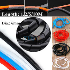 1/2/5/10M 6mm Spiral Cable Binding Wrap Tidy Wire Management for HOME OFFICE Hot