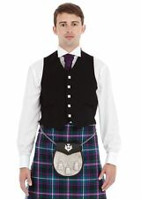 New Mens Scottish 5 Button Black Argyll Kilt Waistcoat 100% Cotton & Wool