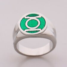 2016 DC Comic Marvel Green Lantern Superhero Green Enamel Silver Power Ring