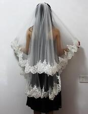 New White / Ivory 2T Wedding Bridal Veil fingertip Lace Edge Veil With Comb