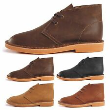 Classic Mens Full Leather Desert Boots Casual Lace up Outdoor Ankle Work Shoes