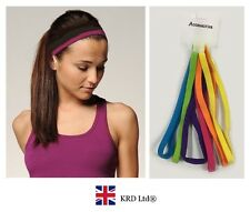 6 x Snag Free Elastic Head Bands Hairbands Ladies Girls School Gym Sports BRIGHT
