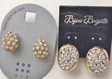 NWT Fashion Designer Jewelry Stud Earrings - Gold Silver Tone CZ Crystal JE31