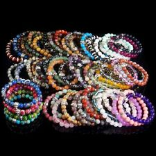 8mm Natural Gemstone Beads Skull Stretchy Reiki Chakra Energy Stone Bracelet