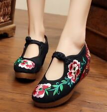 Women China Style Thick Crust Flat Oxfords Strappy Buckle Embroider Cloth Shoes
