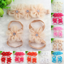Colourful Baby Girl Kid Barefoot Sandals Shoes Headband Crystal Flower Foot Band