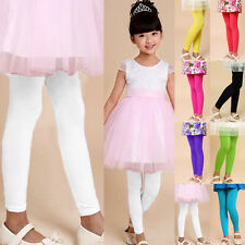 Cute Girls Stretch Full Length Stretch Dance Leggings Pants Solid Candy Colors