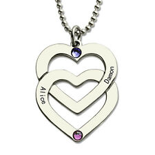 Birthstones Double Heart Personalized Name Necklace My Heart Belongs Yours Love