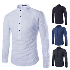 Formal Men's Stylish Dot Pattern Button Down Causal Dress Long Sleeve Shirts