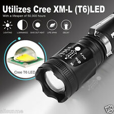 5000LM CREE T6 LED 18650 Zoomable Tactical Flashlight Torch Light Super Bright