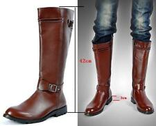 New Mens Knee High Boot Costume zip black/Brown Army Military faux leather shoes