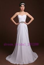 NEW Stock White/Ivory Chiffon Sweetheart Beading Empire Wedding Dress Bridal