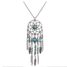 Blue Turquoise Lucky Feather Dreamcatcher Pendant Chain Long Necklace