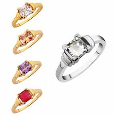 Sz5-9 Prinecess Cut White Sapphire Topaz Ruby Amethyst Engagement Solitaire Ring
