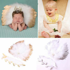 Infant Baby Feather Lace Pearl Flower Leaves Headband & Angel Wings Photo Props