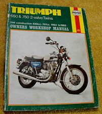1963 TO 1983 TRIUMPH OWNERS WORKSHOP MANUAL 650 & 750 2-VALVE TWINS ENGINES