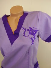 New Women Nursing Scrub Lavender Purple Embroidery Butterfly Poly/Cotton Top