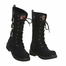 Retro Mens Combat Lace Military Knee High Motorcycle Punk Style Mid Calf Boots