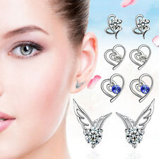 New Fashion Women Silver Earrings Jewelry Angle Wings Crystal Pearl Earring Gift