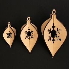 Wooden Christmas Hanging Decoration Droplet Snowflake Style x 3 / 3 sizes