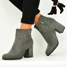 NEW WOMENS ANKLE BOOTS LADIES MID BLOCK HEEL BACK LACE SIDE ZIP SHOES SIZE UK