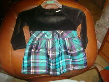 Healthtex Toddler Girls Dress Fancy 3T NEW Purple Black Green Gold Plaid L/S