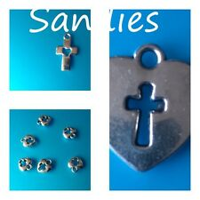5 - 100 x Tibetan Silver Cross and Heart Charms, Jesus, Religion, Church, Love