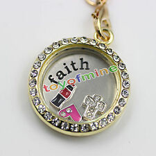 Floating Locket Charm Stainless Steel Plate for 30mm Glass Living Memory Family