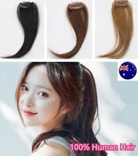 Women 100% Human Hair Natural Clip on Bang Side Fringe REAL Wig Piece extension