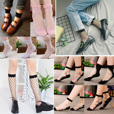 Sexy Lady Girls Ankle Socks Transparent Beautiful Ultrathin Crystal Lace Socks
