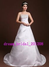 In Stock Beading Crystal White/Ivory Satin Wedding Dress Size 4 6 8 10 12 14 16+