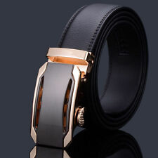 Hot Genuine Leather Men Gold Automatic Buckle Belts Waist Strap Belt Waistband