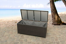 CUSHION BOX WEATHERPROOF IN AND OUTDOOR WICKER STORAGE 130 CM GARDEN