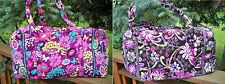 VERA BRADLEY Large Duffel Travel Bag Flutterby Purple Punch