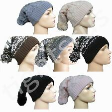 WOMENS / LADIES CHUNKY WOOLLY BOBBLE HAT KNITTED BEANIE AZTEC HAT NEW
