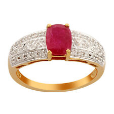 Red Ruby 1.64 Carat Genuine Gemstone  Diamond Ring In 14kt Yellow Gold Jeweley