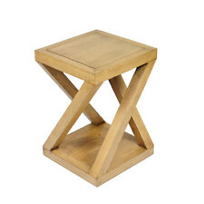 Modern contemporary cross meranti solid timber wooden stool side table