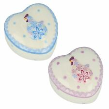 CERAMIC HEART SHAPED TRINKET BOX IN PINK & BLUE 4631