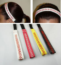 Baseball Softball Sports Headband Yellow White Leather Red Lace Seam & Colors