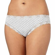 Debenhams Grey Spotted Lace Trimmed High Leg Briefs From Debenhams