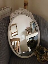 Stunning Ornate Mirror Hand Painted Vintage White French Shabby Chic