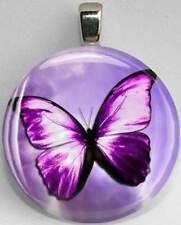 Handmade Interchangeable Magnetic Purple Butterfly #4 Pendant Necklace